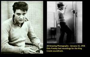 28 Amazing Photographs - January 15, 1958 Elvis Presley had recordings for the King Creole soundtrack.