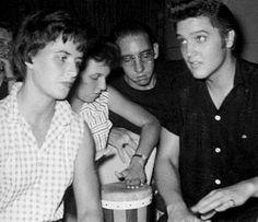 Elvis with his girlfriend June Juanico in Biloxi july 1956.