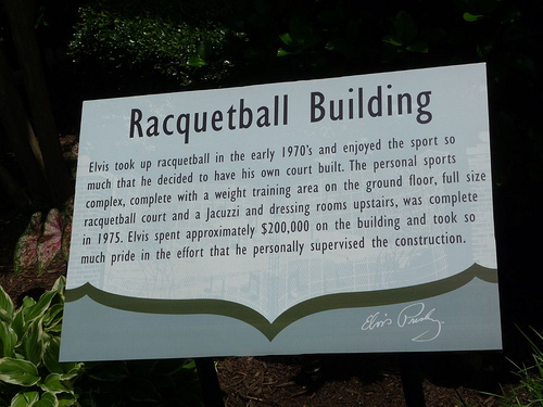 Elvis presley and racquetball elvis presley for Build a racquetball court